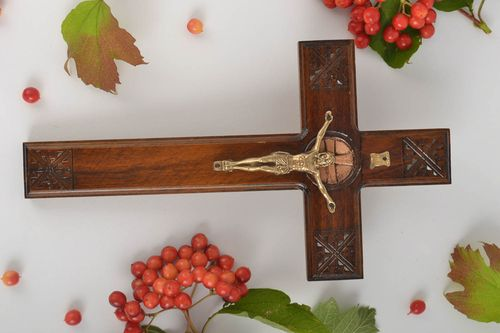Hand wood cross wall crucifix Christian gifts rustic home decor wood carvings - MADEheart.com