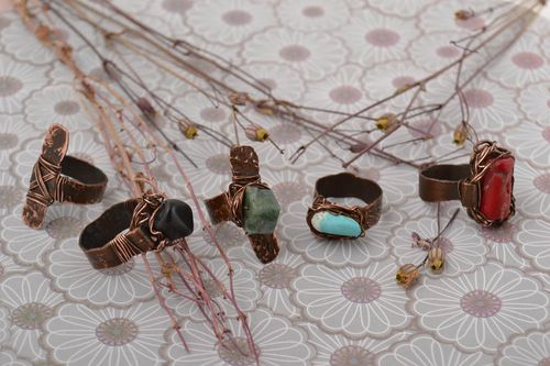 Handmade ring set of 5 items gift ideas unusual accessory copper jewelry  - MADEheart.com