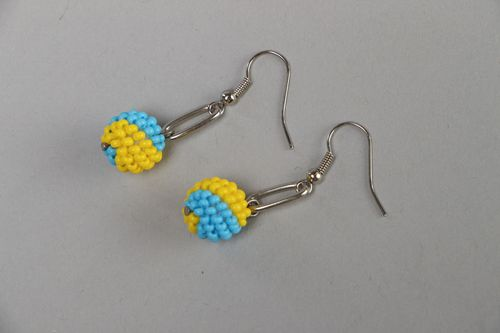 Yellow and blue beaded long earrings - MADEheart.com