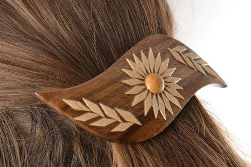 Beautiful head jewelry accessories Handmade varnished wooden hair clip - MADEheart.com