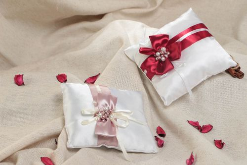 Set of beautiful handmade designer satin ring bearer pillows with bows 2 pieces - MADEheart.com