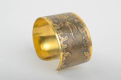 Handmade wide brass bracelet unusual lacquered bracelet metal accessory - MADEheart.com