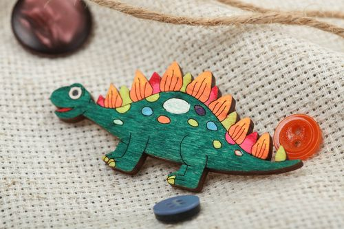 Handmade funny plywood animal brooch Dino painted with acrylics for kids - MADEheart.com