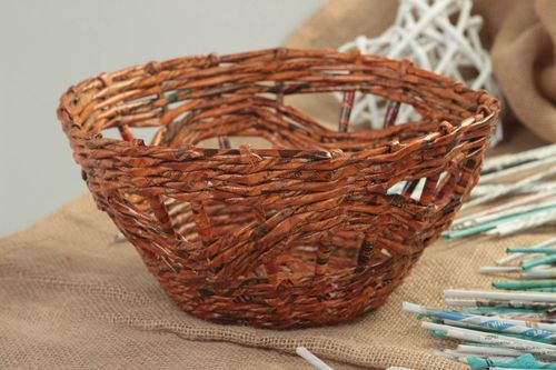 Handmade wicker basket interior decoration vase paper tubes designer basket - MADEheart.com