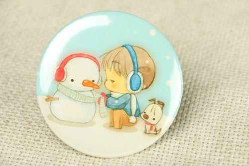 Pocket mirror with the image of snowman and boy - MADEheart.com