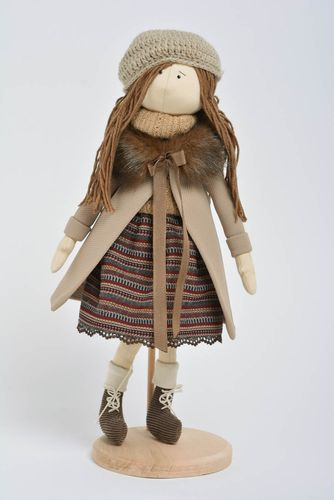 Small handmade beautiful fabric soft doll girl in coat for gift and home decor - MADEheart.com