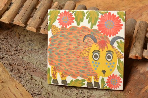 Handmade decorative square ceramic painted facing tile with stylized funny lamb  - MADEheart.com
