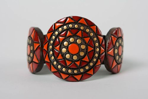 Handmade large clay bracelet ornamented with paints and equipped with leather strap - MADEheart.com