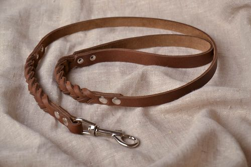 Leather dog leash with plait - MADEheart.com