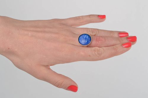 Beautiful handmade designer round top ring with glass and zodiac sign Gemini - MADEheart.com
