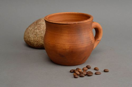 Handmade unusual beautiful clay cup of 400 ml volume interesting shape - MADEheart.com