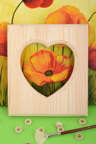 Handmade wooden craft blank for photo frame with heart shaped cut for decoupage - MADEheart.com