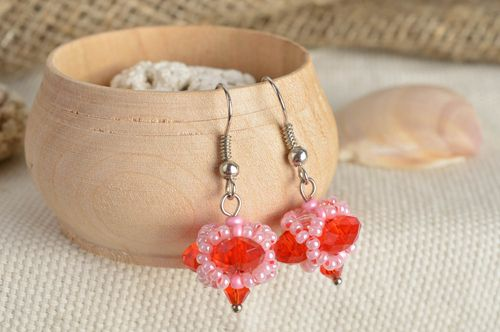 Small neat pink and red beaded dangle earrings with acrylic beads handmade  - MADEheart.com