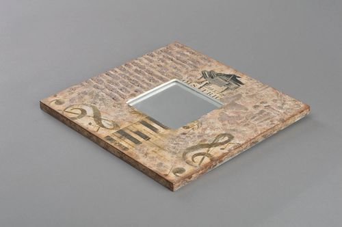 Handmade designer decorative wall mirror in square decoupage wooden frame Melody - MADEheart.com