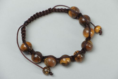 Woven bracelet with tigers eye stone - MADEheart.com