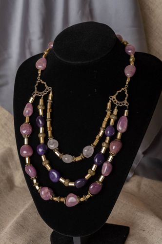Handmade designer latten necklace with violet amethyst and quartz for women - MADEheart.com