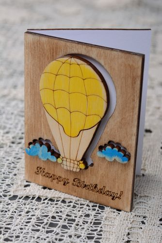 Plywood greeting card for birthday - MADEheart.com