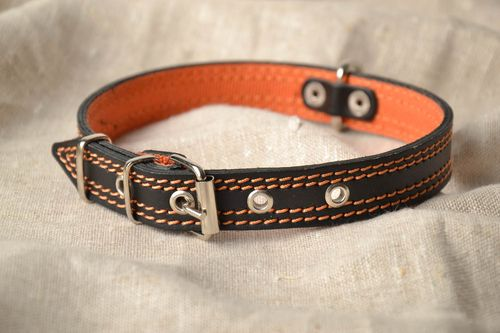 Black and orange handmade dog collar - MADEheart.com