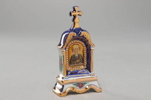 Kiot with Gzhel painting Saint Blessed Ksenia - MADEheart.com