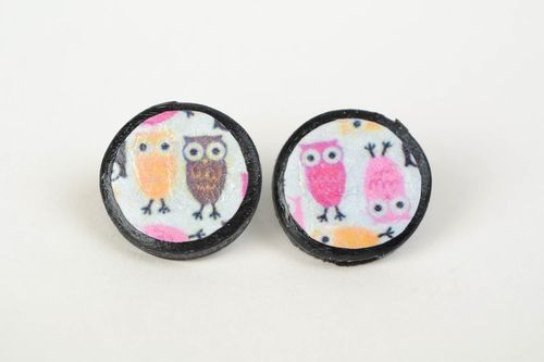 Handmade decoupage round stud earrings molded of polymer clay Owls - MADEheart.com