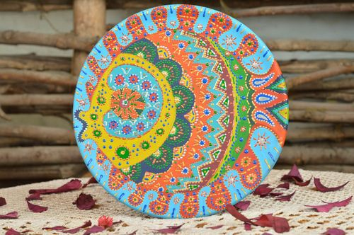 Unusual handmade ceramic wall plate with acrylic painting for home decor - MADEheart.com