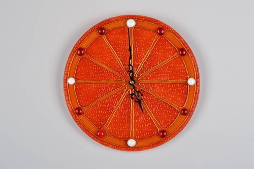 Glass wall clock Orange - MADEheart.com