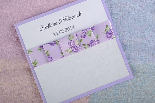 Wedding invitation of white and lilac color - MADEheart.com