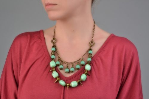 Handmade multi row necklace with glass beads of mint color and metal prickles  - MADEheart.com