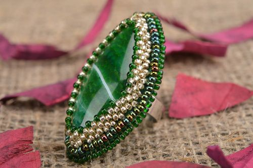 Handmade designer massive jewelry ring with natural green agate and beads - MADEheart.com