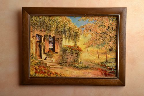 Amber decorated wall painting Old House in Summer - MADEheart.com
