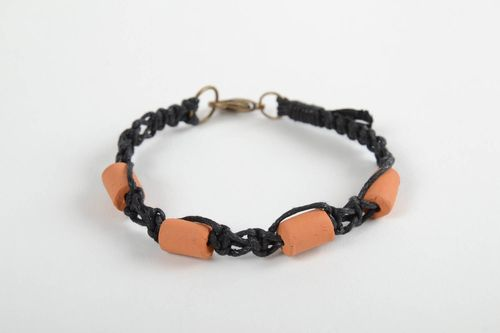 Unusual homemade woven bracelet wrist bracelet with ceramic beads gifts for her - MADEheart.com