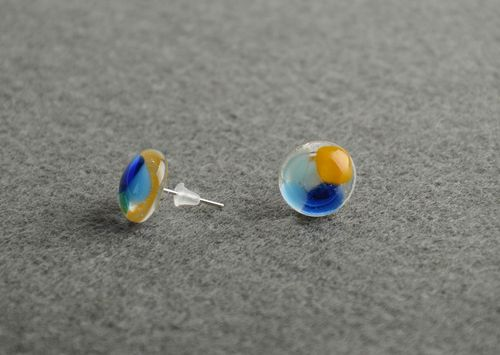 Designer earrings made of fusing glass handmade round-shaped beautiful accessory - MADEheart.com