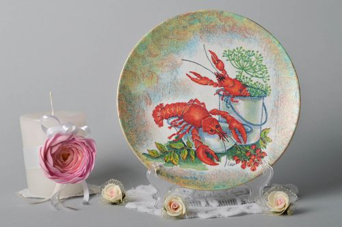 Decoupage decor kitchen plate handmade decor plate decorative use only - MADEheart.com