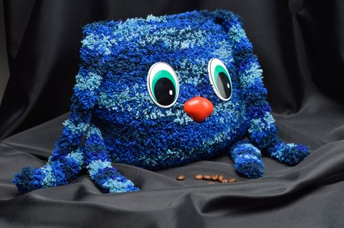 Handmade blue soft toy crocheted stylish souvenirs cute presents for kids - MADEheart.com