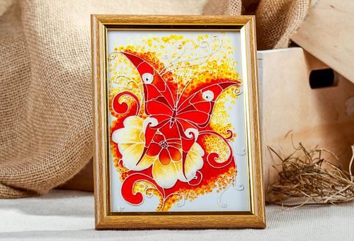 Stained glass picture in wooden frame Flamy butterfly - MADEheart.com