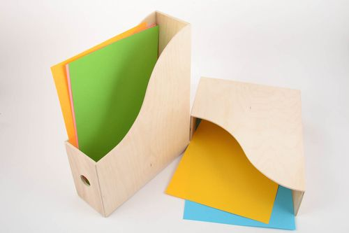 Set of 2 handmade plywood blank magazine holders for painting and decoupage DIY - MADEheart.com