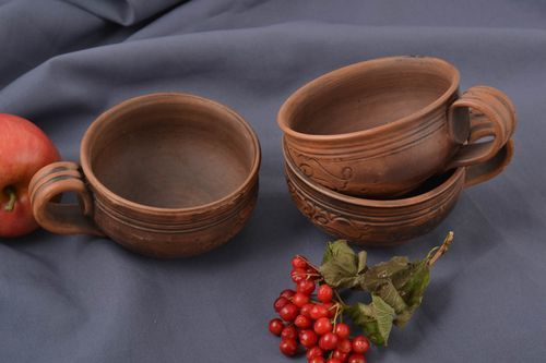 Unusual handmade ceramic cup 3 pieces 200 ml each coffee cup tea cup ideas - MADEheart.com