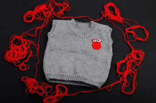 Handmade vest designer clothes crocheted children vest knitted clothes - MADEheart.com