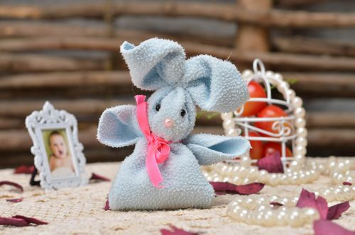 Handmade cute finger toy blue rabbit made of fleece for kids and parents  - MADEheart.com