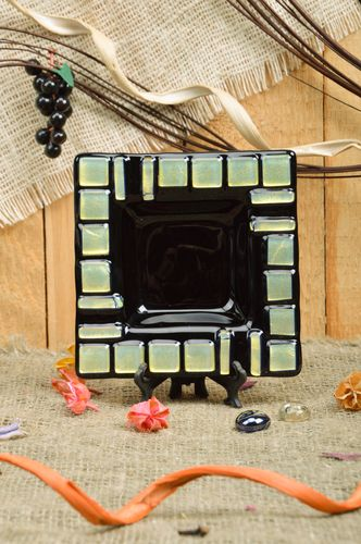 Handmade decorative fused glass square ashtray with beige inserts interior decor - MADEheart.com
