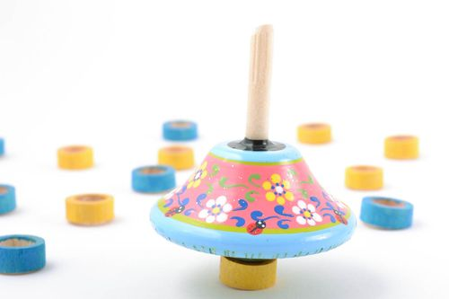Eco friendly beautiful handmade wooden toy spinning top for children - MADEheart.com