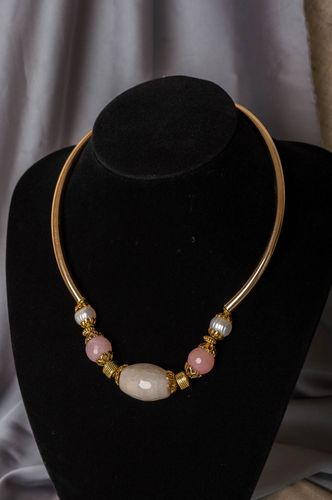 Handmade necklace made of natural stone and brass stylish accessory for women - MADEheart.com