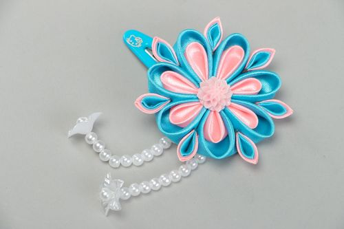 Tender handmade hair clip with pink and blue satin kanzashi flower with beads - MADEheart.com