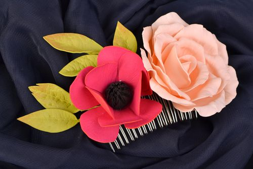 Handmade hair comb with flowers designer hair comb hair comb for women - MADEheart.com