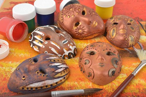 Set of 5 handmade designer painted clay fridge magnets miniature carnival masks - MADEheart.com