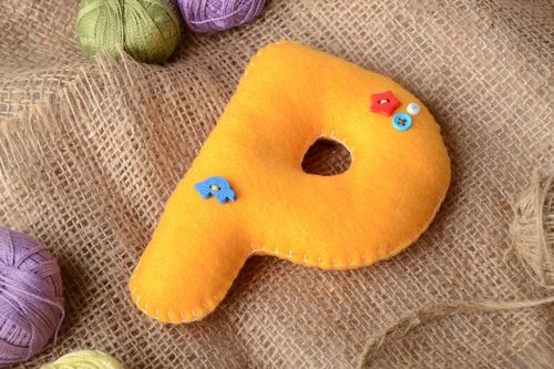 Handmade small orange felt educational soft toy letter P with colorful buttons - MADEheart.com