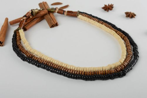 Handmade multirow necklace stylish wooden necklace cute elegant accessory - MADEheart.com