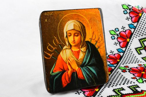 Handmade icon faith-healer orthodox Mary God's Mother Blessing Virgin saint icon - MADEheart.com