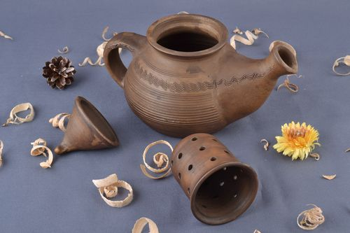 Handmade beautiful teapot made of red clay milk firing technique ceramic tableware - MADEheart.com