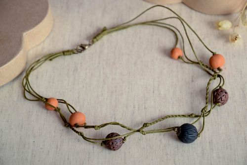 Eco friendly necklace handmade clay necklace ceramic jewelry ethnic accessories - MADEheart.com